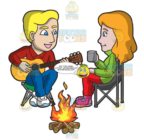 A Young Man Serenades A Woman By The Campfire