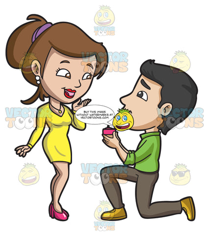 A Man Proposing Marriage At The Surprise Of His Girlfriend