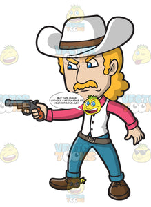 An Angry Cowboy Pointing A Pistol