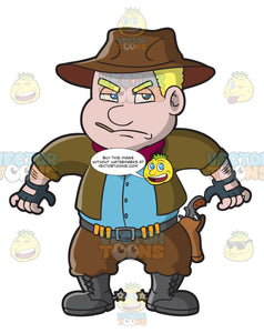 A Chubby Cowboy Ready To Draw A Gun