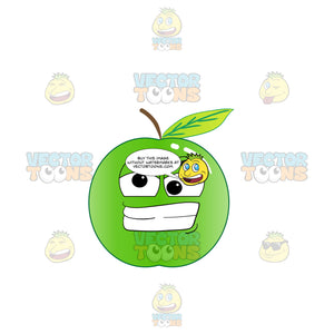 Crazy And Frustrated Green Apple Emoji