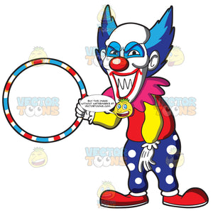 A Scary Looking Clown Holding A Hula Hoop