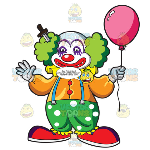 A Short Clown With A Knife Stabbed On His Head