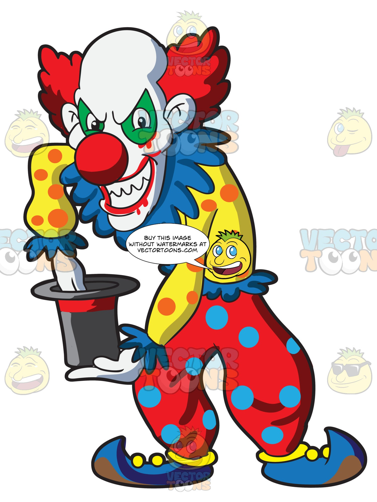 A Bald Creepy Clown Doing Magic
