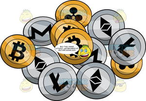 A Bunch Of Cryptocurrency Coins