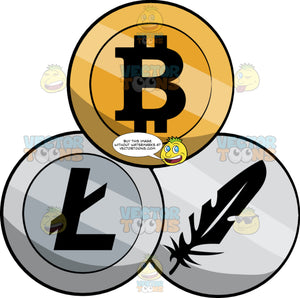 A Bitcoin, Litecoin And Feathercoin