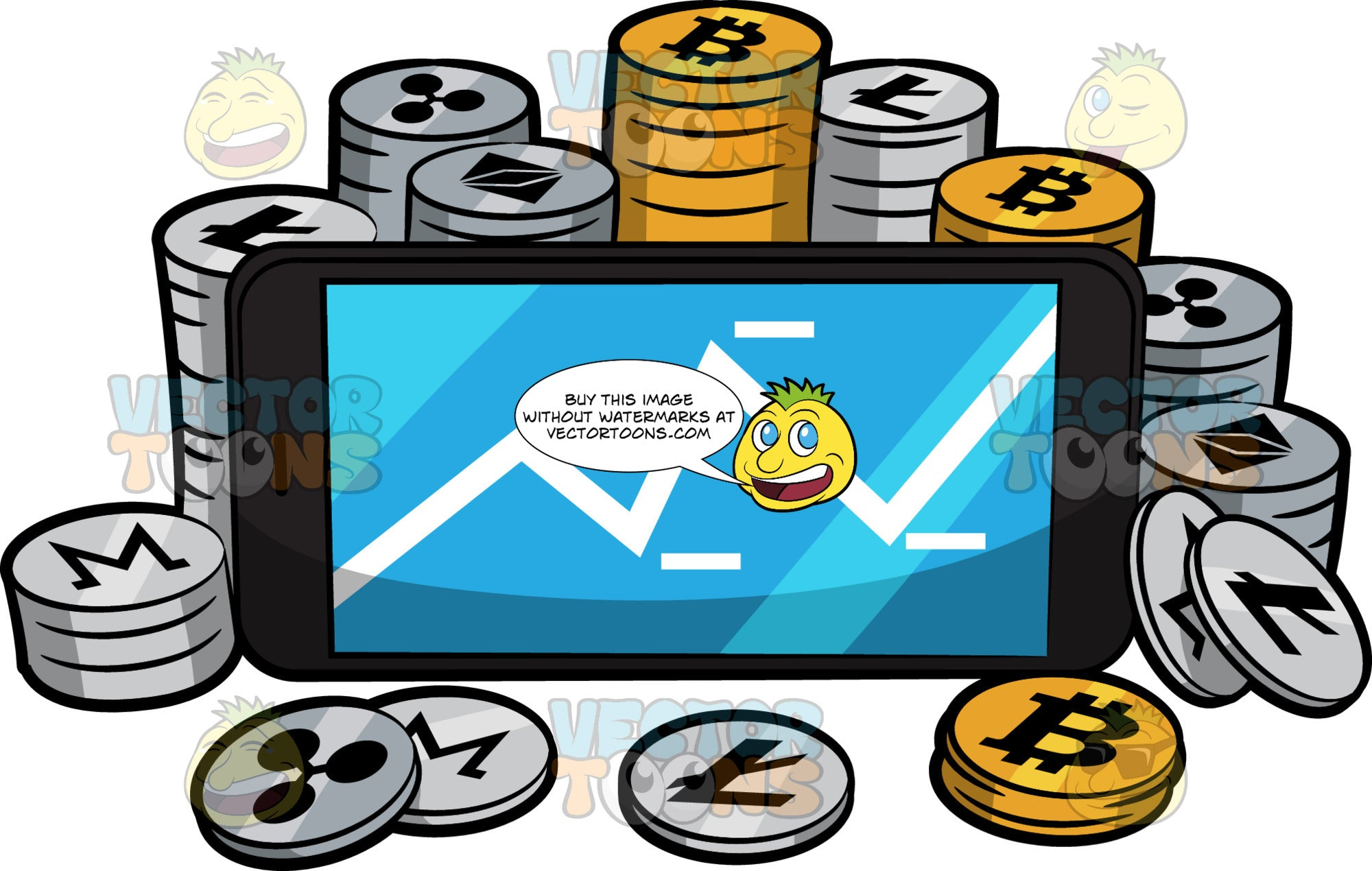 Stacks Of Cyrptocurrency Coins Around A Phone