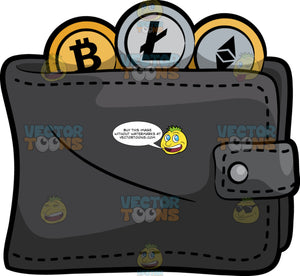 A Wallet Filled With Bitcoin, Litecoin And Ethereum
