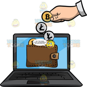 A Hand Virtually Depositing Bitcoins