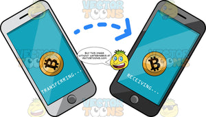Phones Transferring Bitcoin From One Wallet To Another