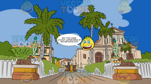Cuban Street Background. A picturesque Roman Catholic cathedral with beige walls, big brown arched doors, a cross on top, surrounded by white fences, that lead to a lovely street with sculptures and palm trees, as well as mansions and green shrubs