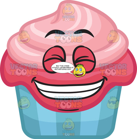 A Party Cupcake Grinning In Delight