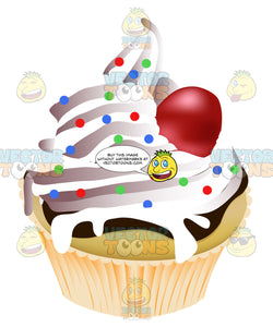 Vanilla White Forsted Yellow Cake Cupcake Topped With Multicolored Sprinkles And A Cherry