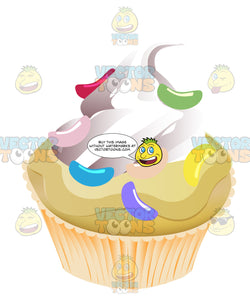 Yellow Vanilla Cupcake With White Piped Swirled Frosting Topped With Candy Jelly Beans