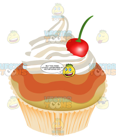 Red Berry Velvet Cupcake With Swirled White Icing And A Cherry On Top