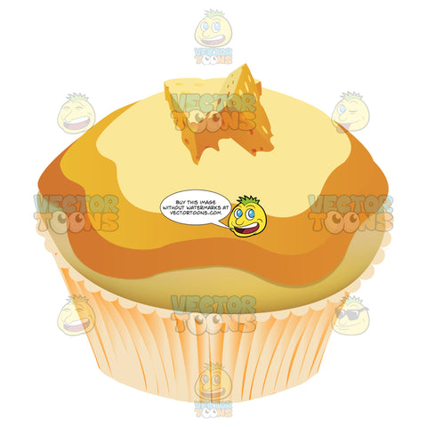 Yellow Cake Cupcake With Mini Swiss Cheese Slices On Top