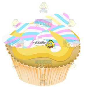 Light Brown Cupcake With Striped Candy On Top And Yellow Glaze Icing