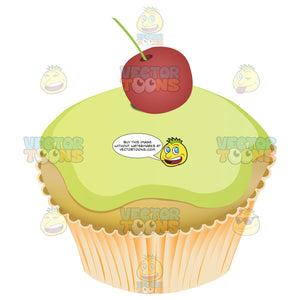 Cupcake With Lime Green Icing And Cherry On Top