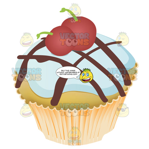 Light Blue Colored Frosted Cupcake With Choclate Crisscross Drizzle And Two Cherries