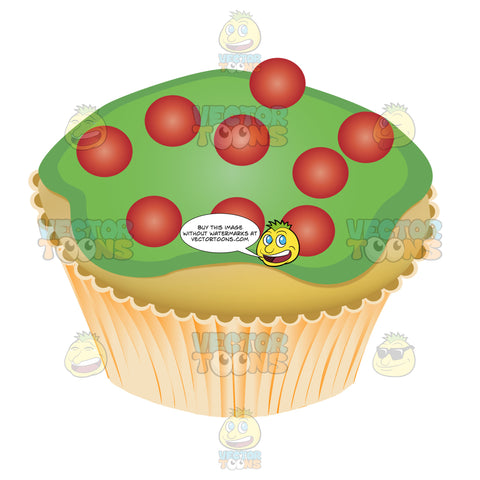 Green Frosted Vanilla Cupcake Topped With Round Red Candies