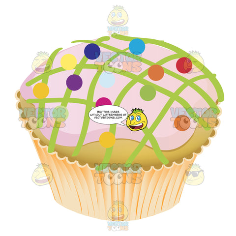 Purple Frosted Vanilla Cupcake With Lime Green Crisscross Icing Details And Rainbow Candy On Top