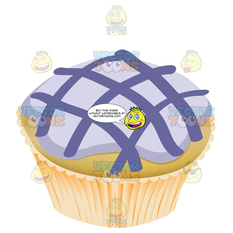 Purple Glazed Frosted Yellow Cupcake With Dark Purple Crisscross Icing Detail