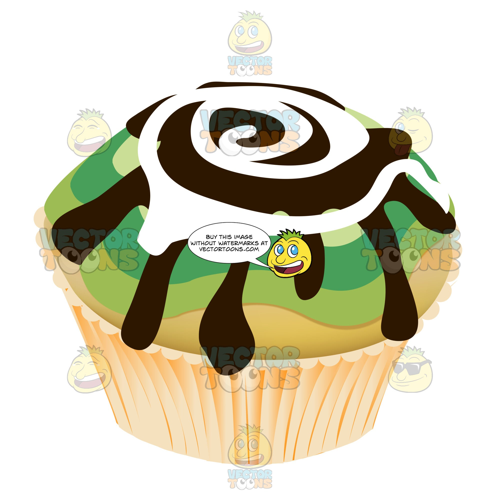 Green Chocolate And White Swirled Frosting Decorated Cupcake