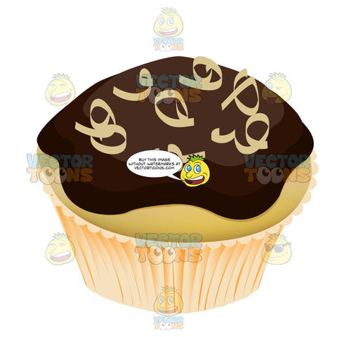 Chocolate Frosted Yellow Cupcake With White Chocolate Coconut Shavings On Top