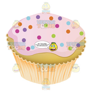 Pink Frosted Yellow Cupcake With Rainbow Multicolored Sprinkles Decoration On Top