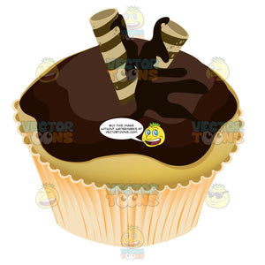 Chocolate Frosted Yellow Cupcake With Striped Rolled Cookie Decoration On Top