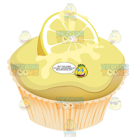 Yellow Lemon Meringue Cupcake With Lemon Slice On Top