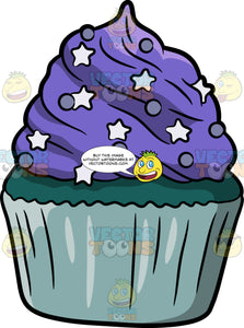 A Green Cupcake With Purple Frosting
