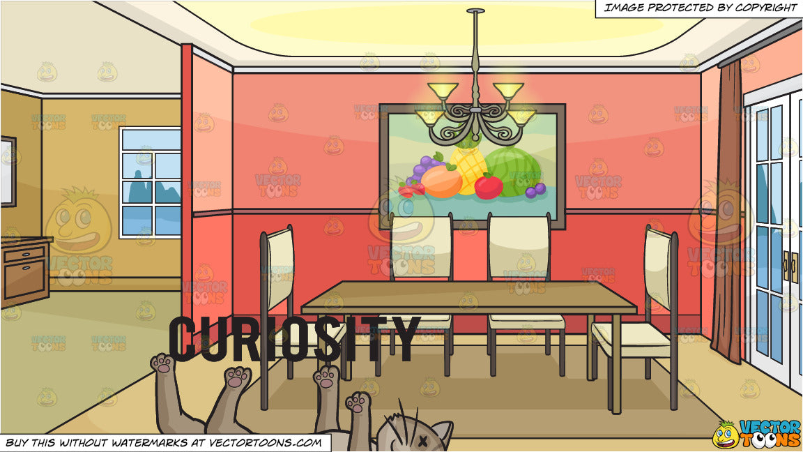Curiosity Killed The Cat And An Empty Dining Room Background Clipart Cartoons By Vectortoons