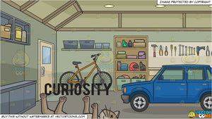 Curiosity Killed The Cat and The Inside Of A Home Garage Background