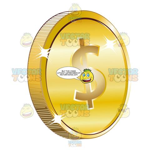 Gold Coin Currency With United States American Dollar Sign On It