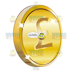 Gold Coin Currency With British Sterling Pound Sign On It