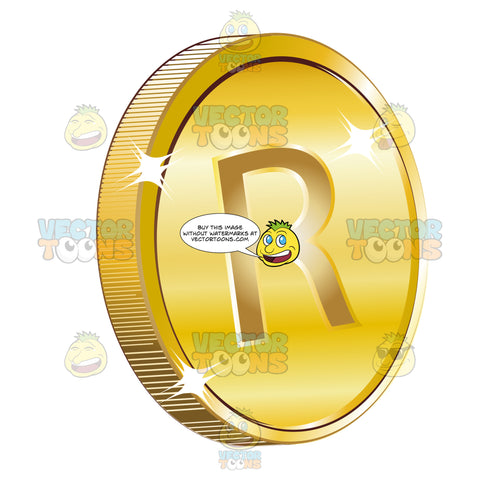 South Africa Rand Sign On Gold Coin Currency