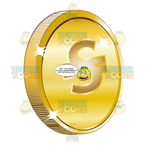 S' With Two Lines Through It On Gold Coin Currency