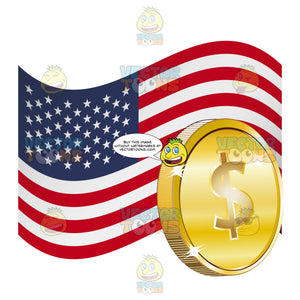 United States Of America Flag With American Dollar Sign On Gold Coin