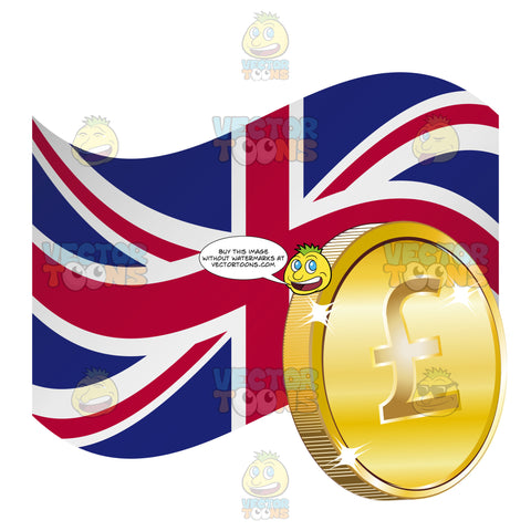 Flag Of The United Kingdom Union Jack With British Sterling Pound Gold Coin