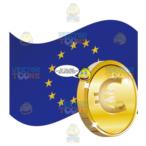 Flag Of European Union With Euro Money Sign On Gold Coin