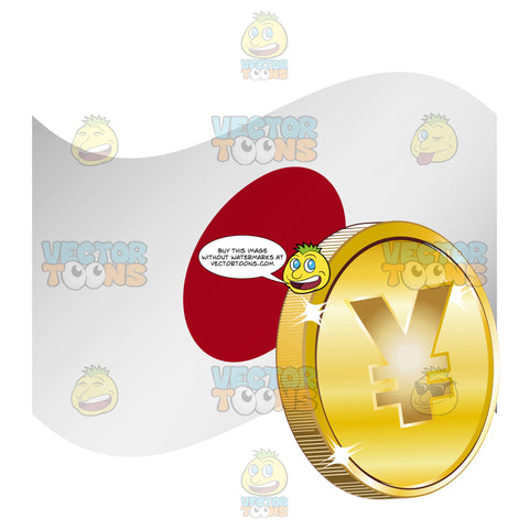 Japanese Flag With Yen Sign On Gold Coin