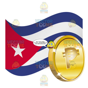 Republic Of Cuba Flag With Cuban Pesos Sign On It