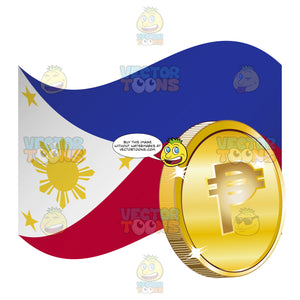 Philippines Flag With Peso Sign On Gold Coin