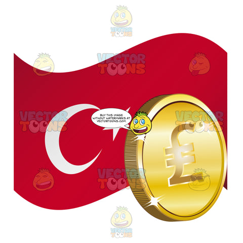 Republic Of Turkey Flag With Turkish Lira Sign On Gold Coin