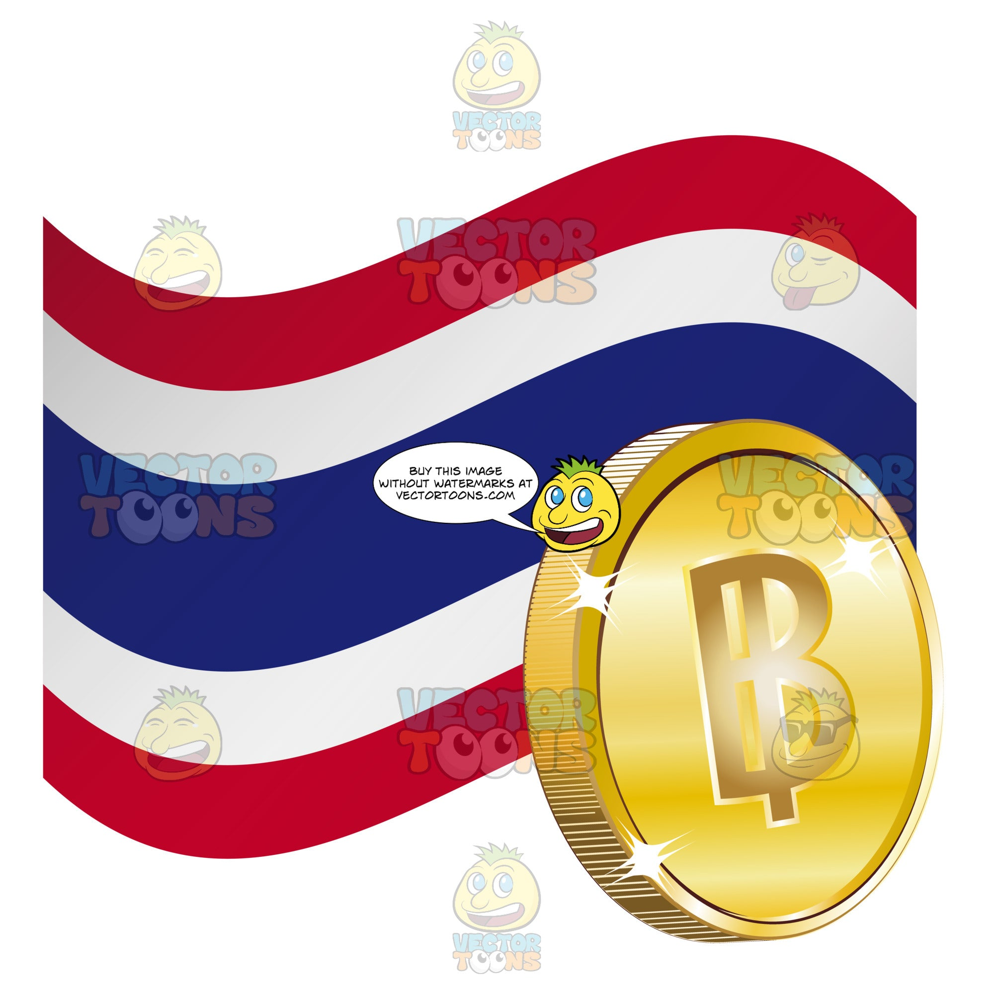 Thailand Flag With Baht Sign On Gold Coin