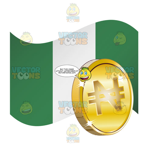 Flag Of Nigeria With Naira Sign On Gold Coin