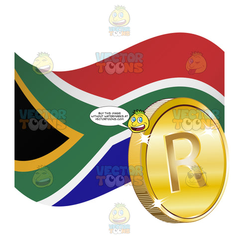 South African Flag With Rand Sign On Gold Coin