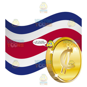 Costa Rica Flag With Colón Sign On Gold Coin