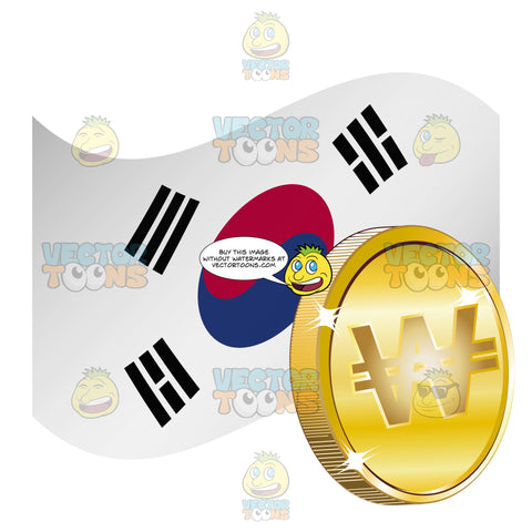 South Korea Flag With Won Sign On Gold Coin